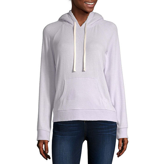 Arizona Juniors Womens Sherpa Hooded Neck Long Sleeve Sweatshirt