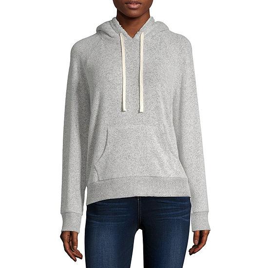 Arizona Juniors Womens Sherpa Hooded Neck Long Sleeve Sweatshirt