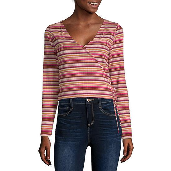 Arizona Womens V Neck Long Sleeve Wrap Shirt Juniors