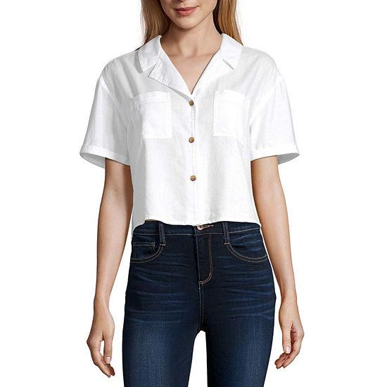 Arizona-Juniors Womens Short Sleeve Regular Fit Button-Front Shirt