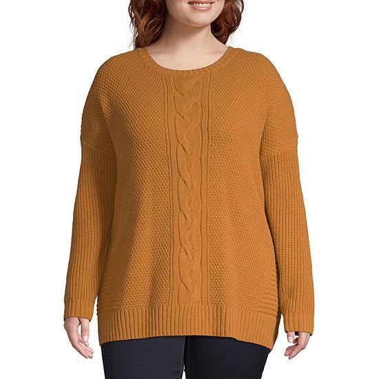 Arizona-Juniors Plus Womens Round Neck Long Sleeve Pullover Sweater