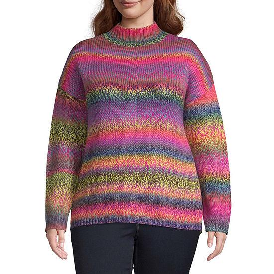 Arizona-Juniors Plus Womens Mock Neck Long Sleeve Striped Pullover Sweater