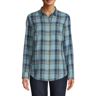 St. John's Bay Womens Long Sleeve Regular Fit Button-Front Shirt