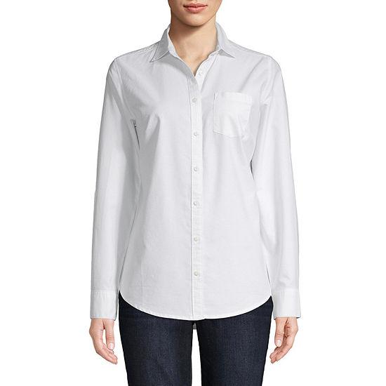 St. John's Bay Womens Long Sleeve Regular Fit Button-Front Shirt