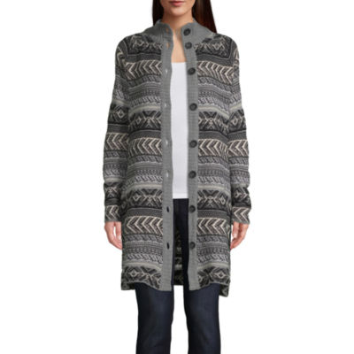 St. John's Bay Womens High Neck Long Sleeve Button Geometric Cardigan