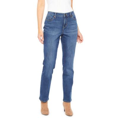 Gloria Vanderbilt Rail Straight Womens Mid Rise Straight Leg Jean