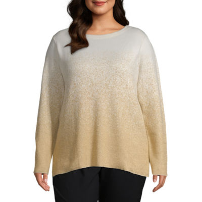 Liz Claiborne Long Sleeve Ombre Pullover Sweater - Plus