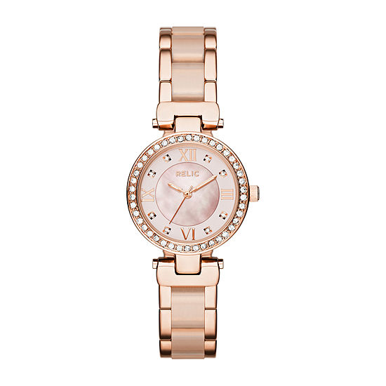 Relic By Fossil Selma Womens Crystal Accent Rose Goldtone Bracelet Watch-Zr34335