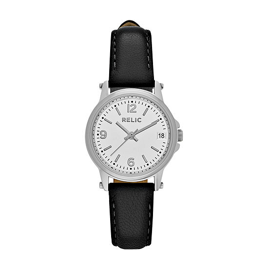Relic By Fossil Matilda Womens Black Leather Strap Watch-Zr34348