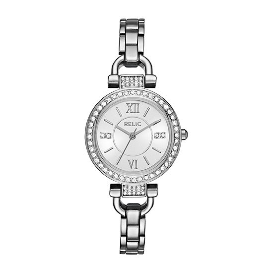 Relic By Fossil Women's Leah Womens Crystal Accent Silver Tone Bracelet Watch-Zr34414
