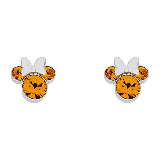 Disney Minnie Mouse Fine Silver Plated Crystal Birthstone Stud Earrings