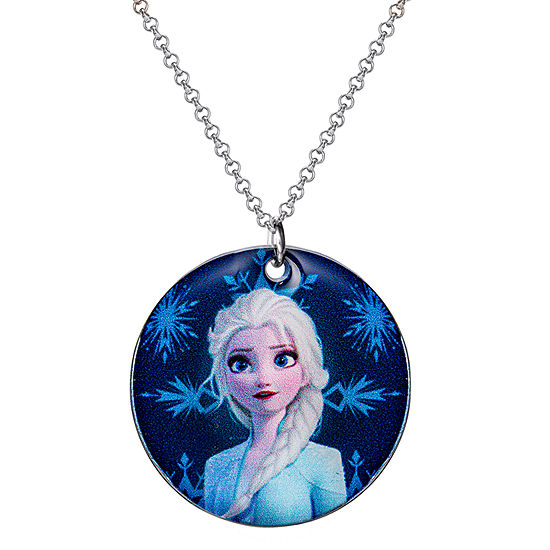 "Disney Girls Frozen 2 Elsa and Anna Pendant Necklace 16 + 2"" Chain"