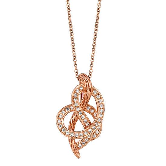 Levian Corp Le Vian Womens 1/4 CT. T.W. Genuine White Diamond 14K Gold Pendant Necklace