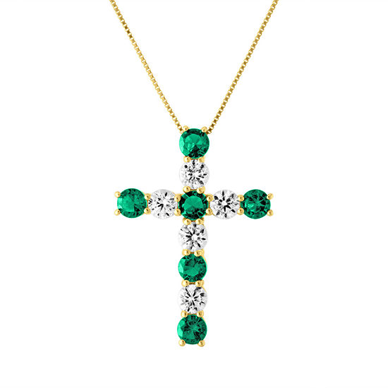 Womens Lab Created Green Emerald 10K Gold Cross Pendant Necklace