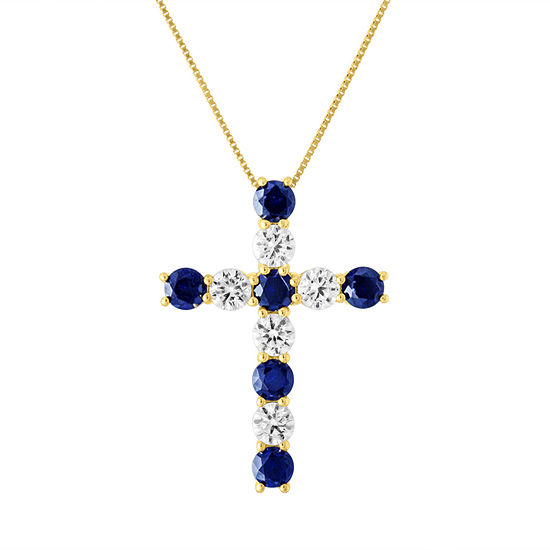Womens Lab Created Blue Sapphire 10K Gold Pendant Necklace