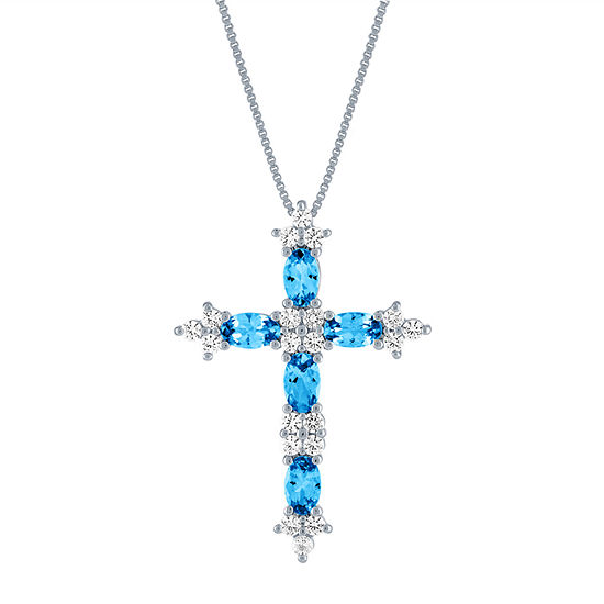 Womens Lab Created Blue Topaz Sterling Silver Cross Pendant Necklace