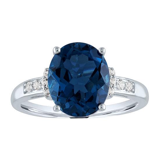 Womens Genuine Blue Topaz 10K White Gold Cocktail Ring