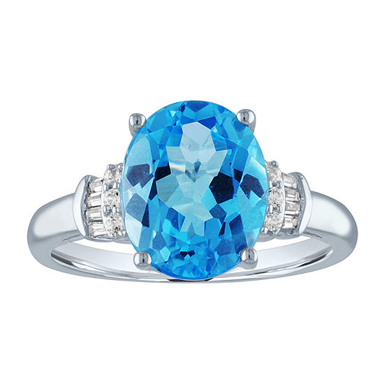 Womens Genuine Blue Topaz 10K White Gold Cocktail Ring