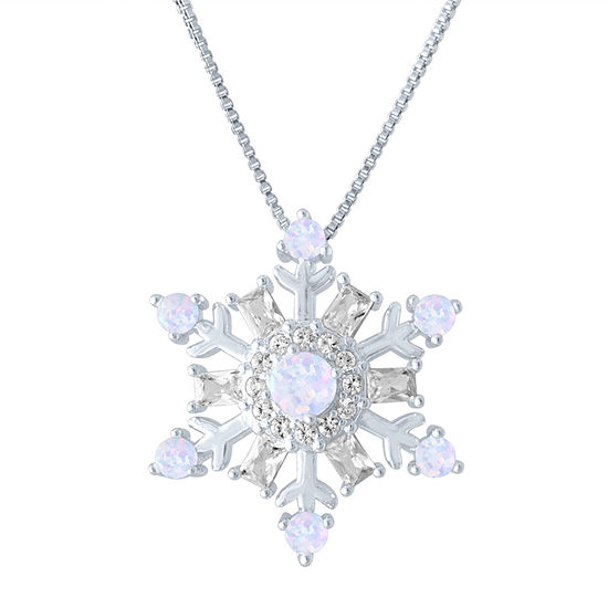 Womens Lab Created Multi Color Opal Sterling Silver Snowflake Pendant Necklace