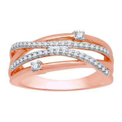 Ever Star Womens 1/4 CT. T.W. Lab Grown Diamond 10K Rose Gold Crossover Cocktail Ring