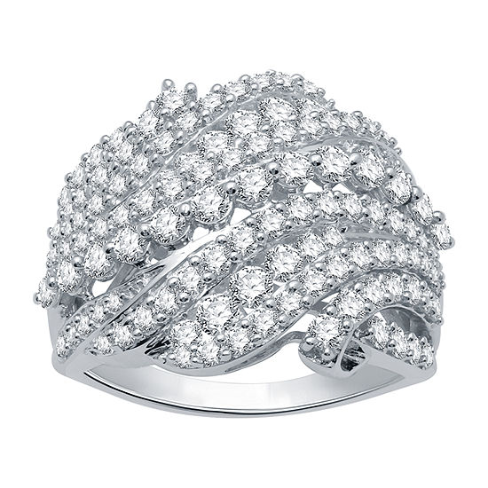 Ever Star Womens 2 CT. T.W. Lab Grown Diamond 10K White Gold Cocktail Ring