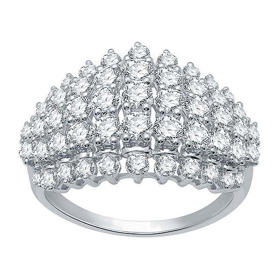 Ever Star Womens 2 CT. T.W. Genuine Diamond 10K White Gold Cocktail Ring