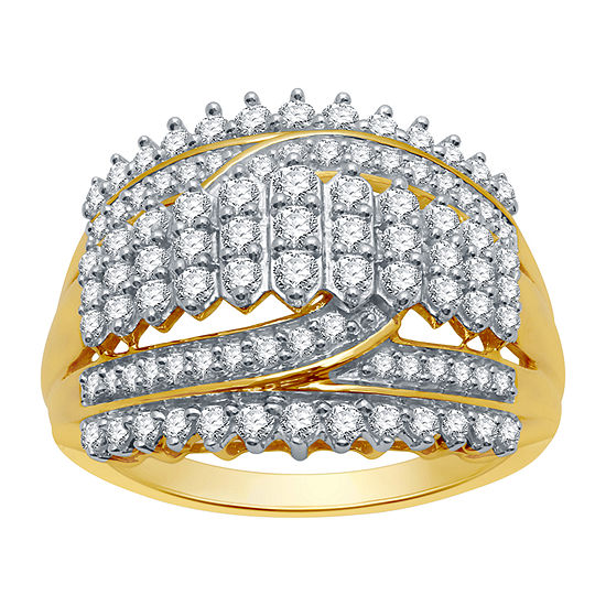 Ever Star Womens 1 CT. T.W. Lab Grown Diamond 10K Gold Cocktail Ring