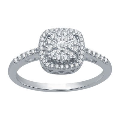 Ever Star Womens 1/4 CT. T.W. Lab Grown Diamond Sterling Silver Round Cocktail Ring