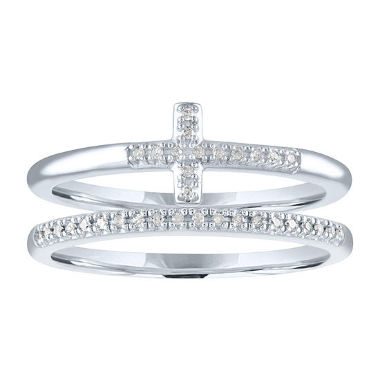 """The Perfect Stack"" Womens Diamond Accent Genuine Diamond Sterling Silver Cross Stackable Ring"