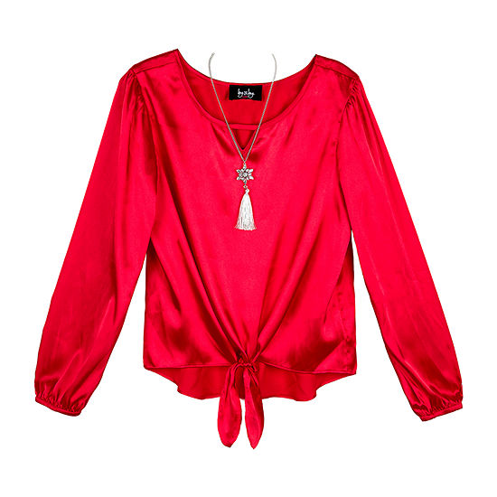 by&by girl By And By Girl Girls Keyhole Neck Long Sleeve Blouse Big Kid