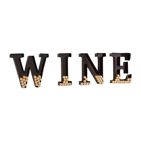Danya B Metal Wall Mount Wine Letters Cork Holder Wall Basket