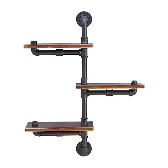 Danya B 3-Tier Vertical Floating Staggered Industrial Rustic Pipe Shelving Unit - Wall Mount Wall Shelf