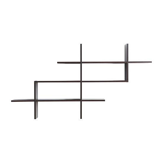 Danya B Walnut 3-Tier Rustic Ladder Wall Shelf