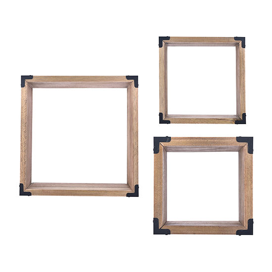 Danya B Pine Wall Cubes With Black Metal Accents (Set Of 3) Floating Shelf
