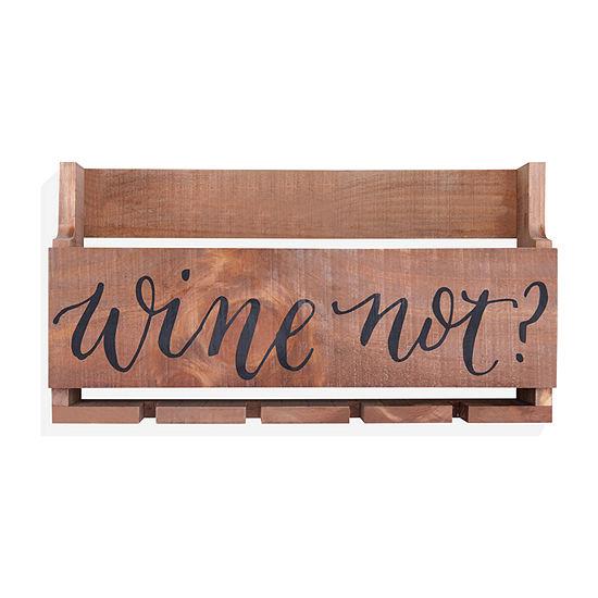 Danya B Wine Not Wooden Stemware Rack And Wine Bottle Holder Wall Basket