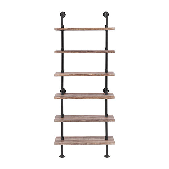 Danya B 6-Tier Iron Pipe Wall Mount Ladder Shelving Unit In Distressed Wood Finish Wall Shelf