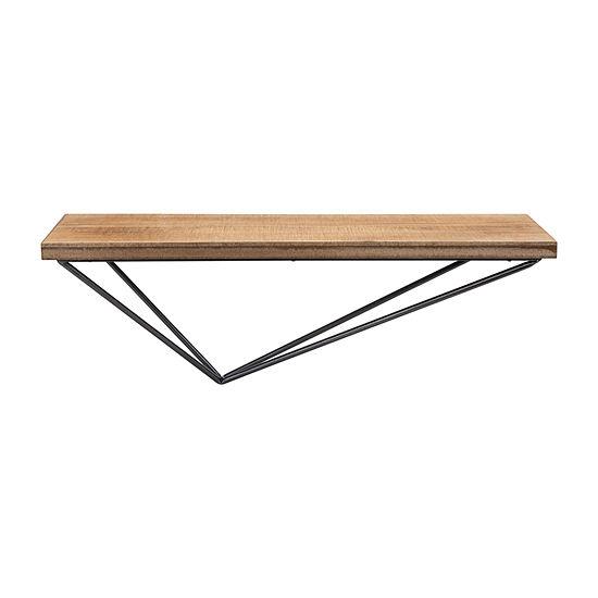 Danya B Pine Wood Diamond-Shaped Floating Shelf