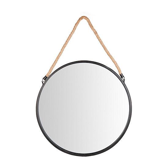 Danya B Framed 20 Decorative Black Metal Circle Hanging Rope Wall Mirror