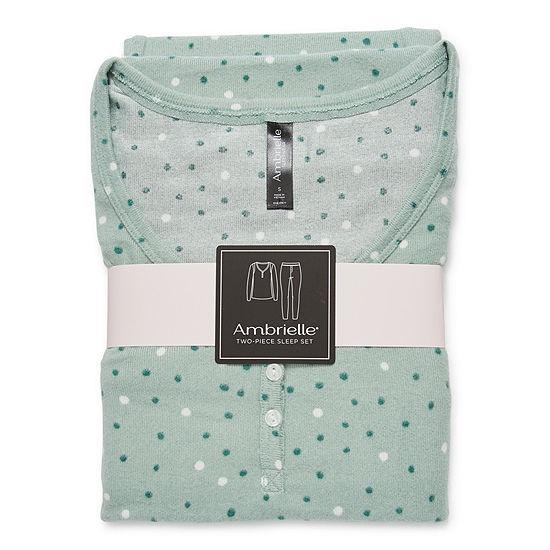 Ambrielle Womens-Petite Long Sleeve Pant Pajama Set 2-pc.