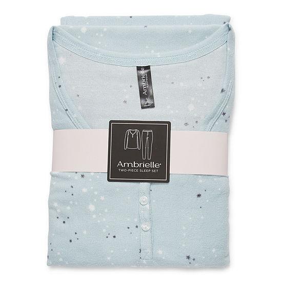Ambrielle Womens-Tall Long Sleeve Pant Pajama Set 2-pc.