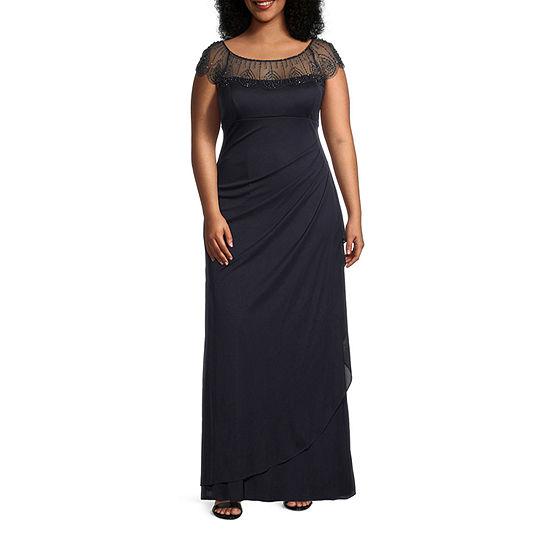 DJ Jaz Short Sleeve Embellished Evening Gown-Plus