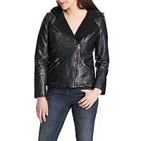 Deals on Levis Faux Leather Hooded Midweight Motorcycle Jacket