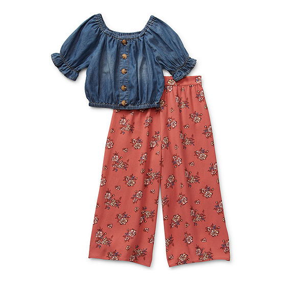 Knit Works Cropped Top Little & Big Girls 2-pc. Pant Set