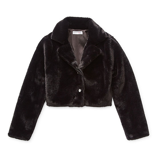 Knit Works Faux Fur Little & Big Girls Midweight Cropped Jacket