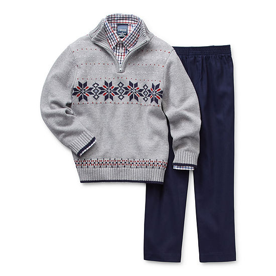 IZOD Fairisle Sweater Little Boys 3-pc. Pant Set