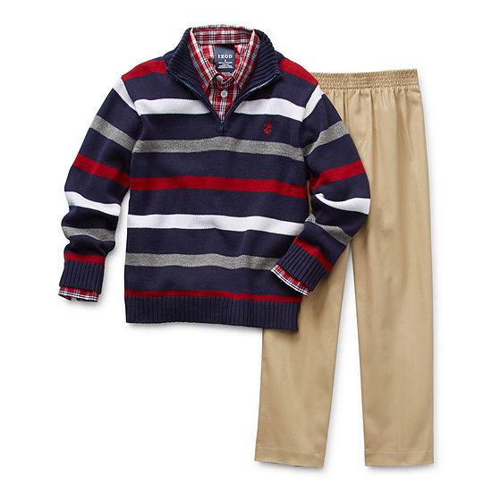 IZOD Sweater Little Boys 3-pc. Pant Set