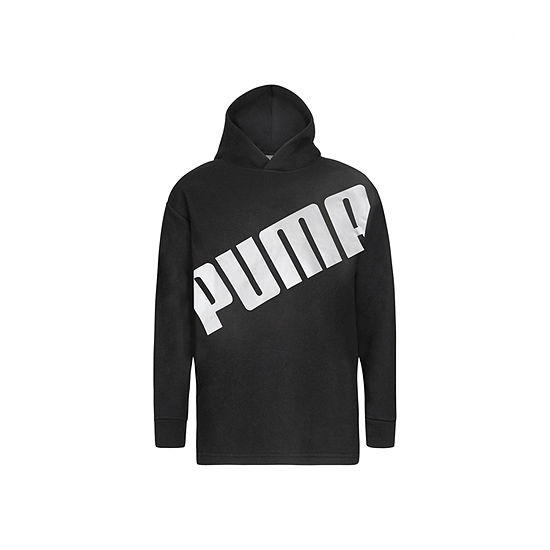 Puma Big Boys Hooded Neck Long Sleeve Graphic T-Shirt