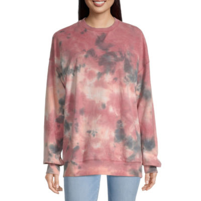 Flirtitude Juniors Womens Crew Neck Long Sleeve Tie-dye Sweatshirt
