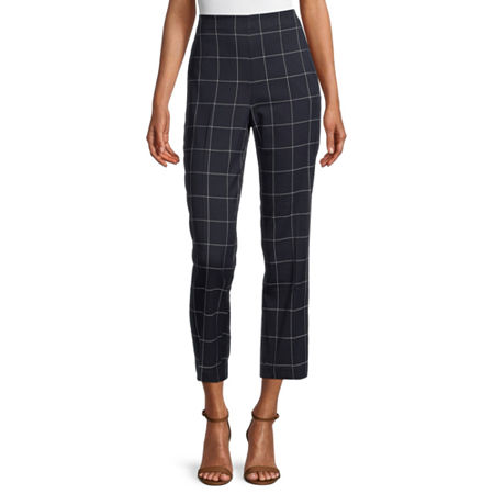 Liz Claiborne Womens Mid Rise Straight Pull-On Pants, 12 , Blue
