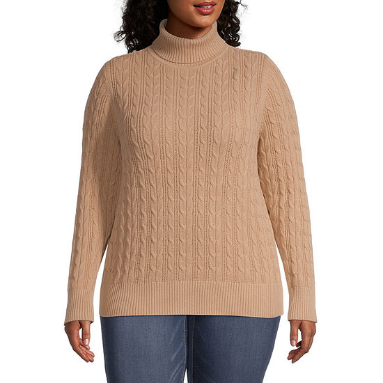St. John's Bay-Plus Cable Womens Turtleneck Long Sleeve Pullover Sweater